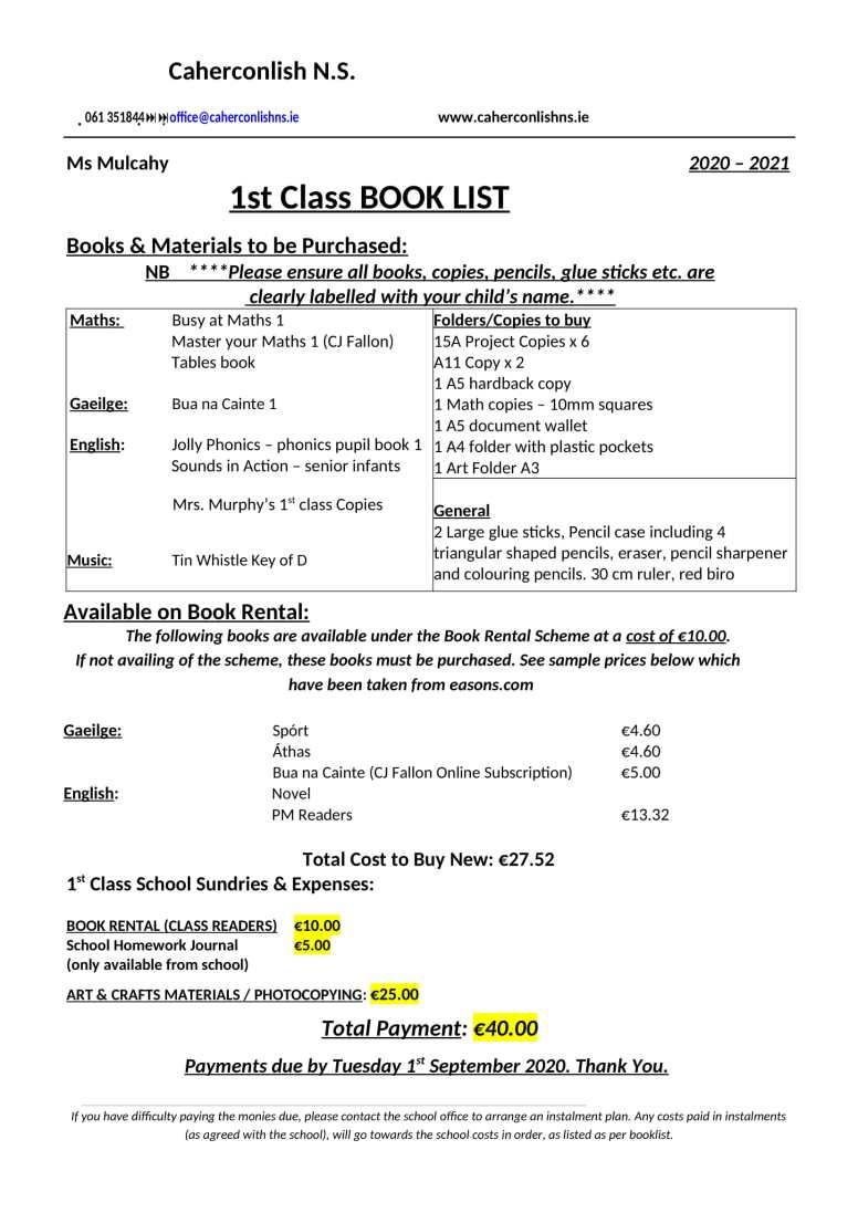 1 class-Book-List 2020 2021-1