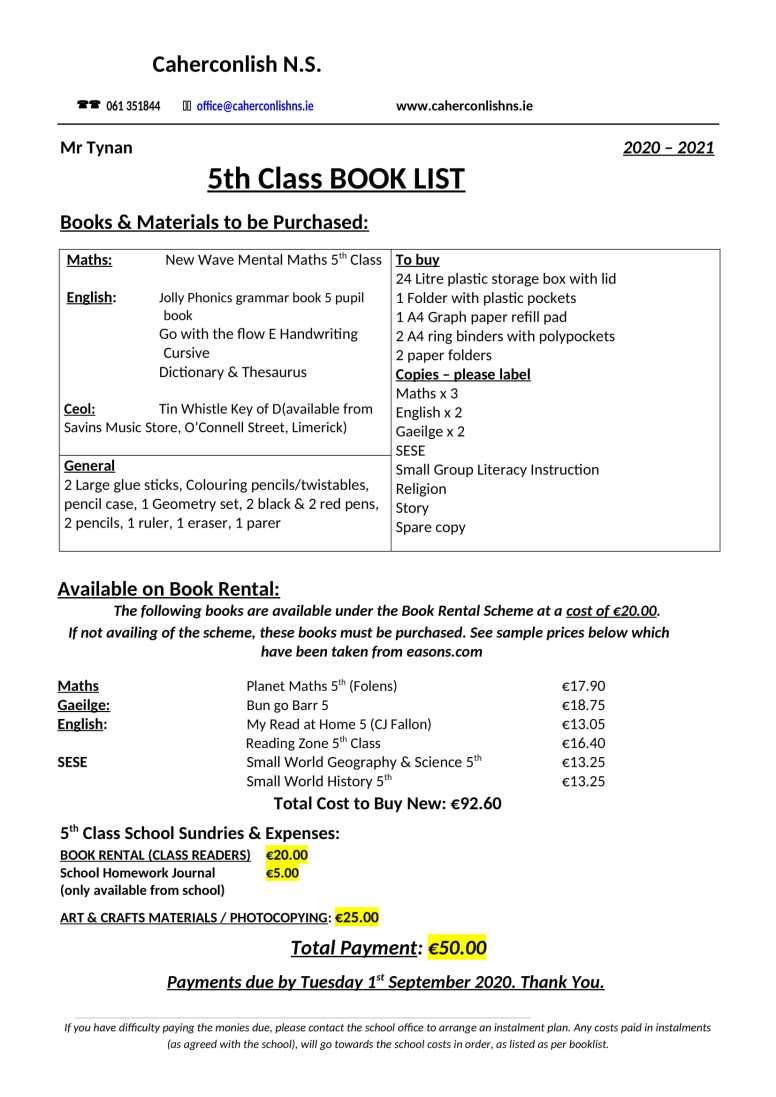 5 class-Book-List 2020 2021-1