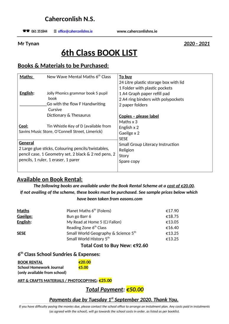 6 class-Book-List 2020 2021-1