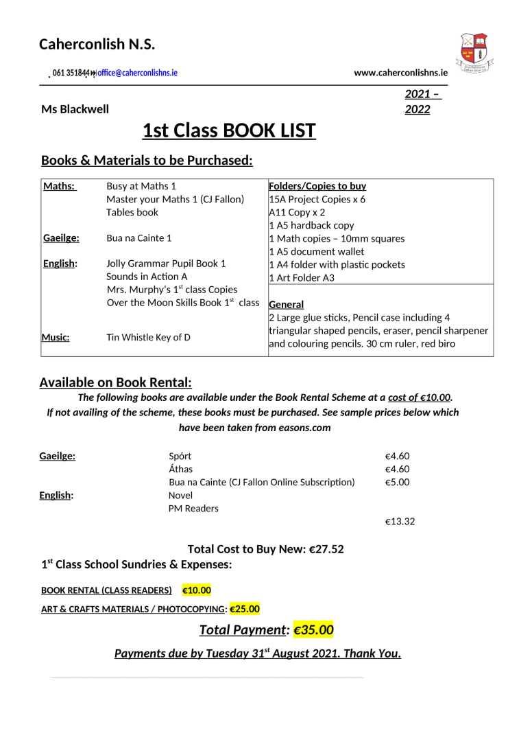 1 class-Book-List 2021 2022