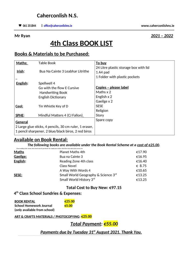 4 class-Book-List 2021 2022-1