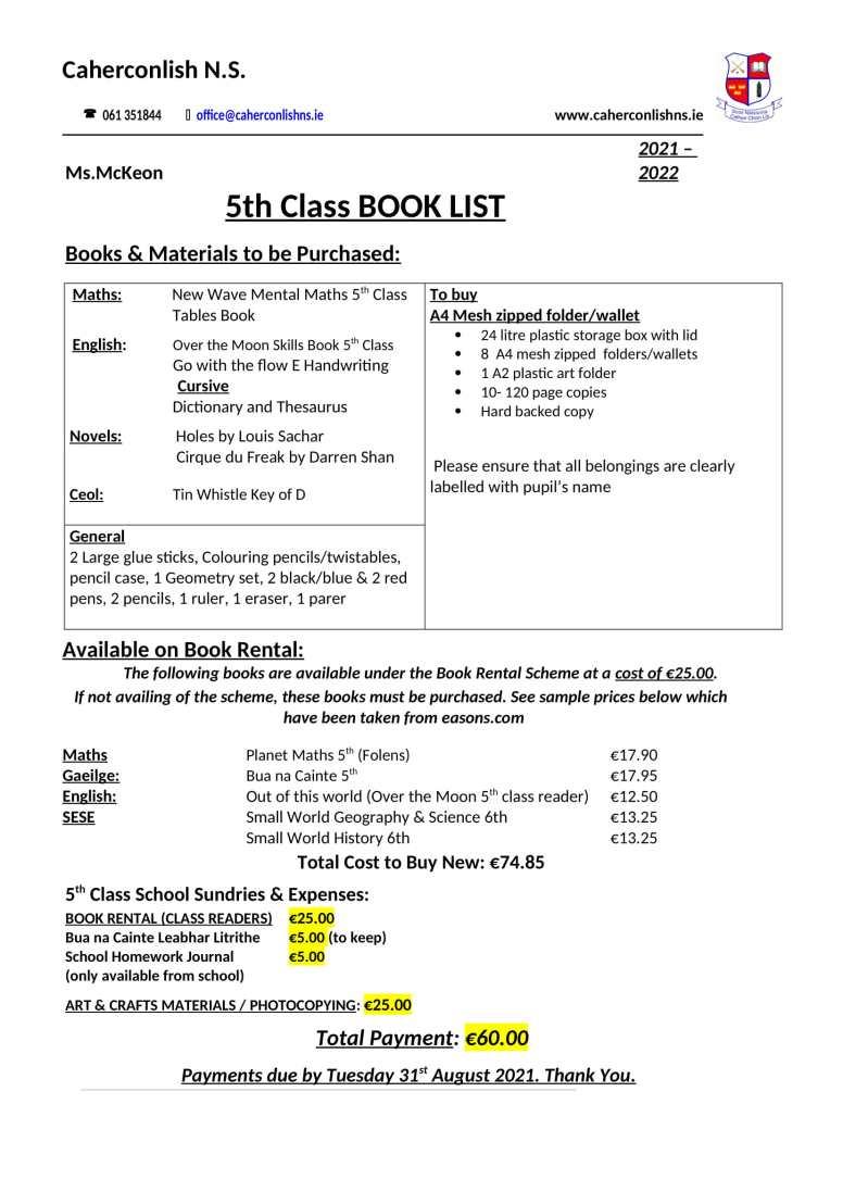 5 class Book-List 2021-2022-1